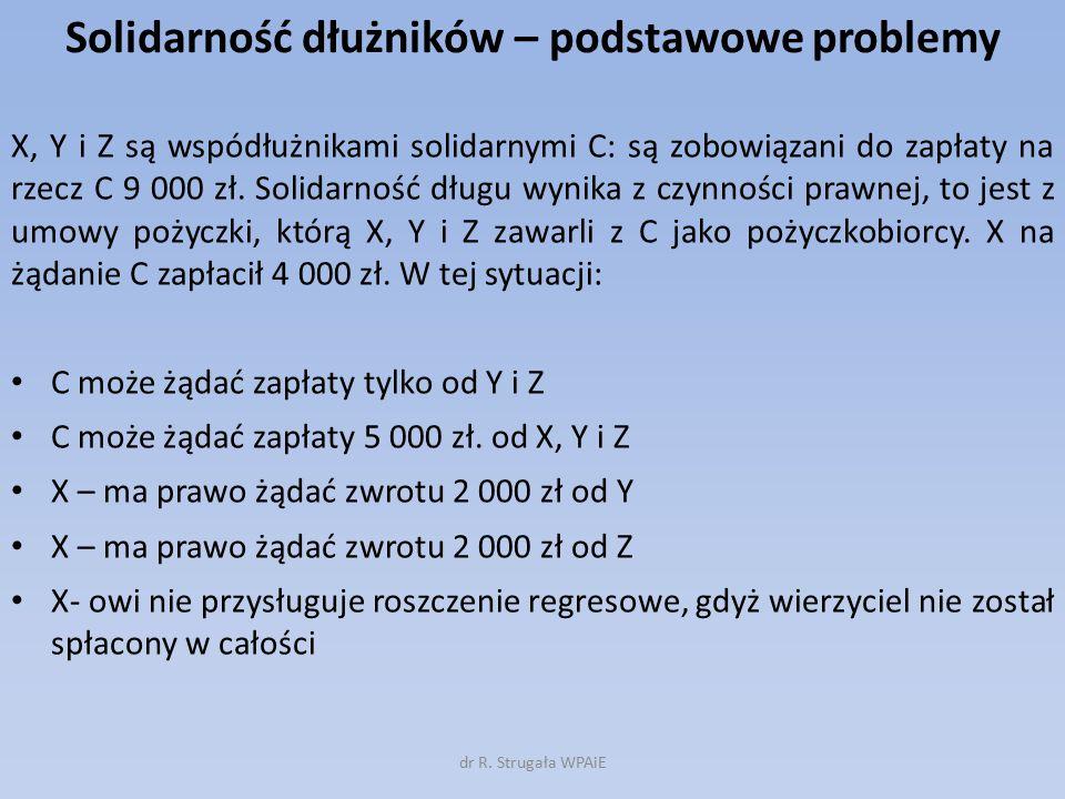 Solidarność dłużników – podstawowe problemy X, Y i Z są wspódłużnikami solidarnymi C: są zobowiązani do zapłaty na rzecz C 9 000 zł. Solidarność długu