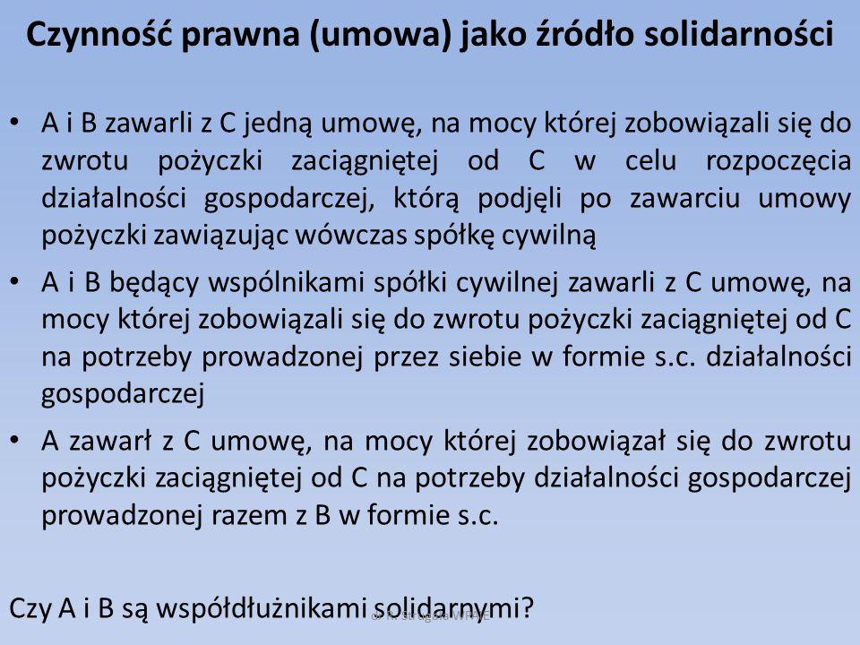 Solidarność bierna/odpowiednie stosowanie przepisów o solidarności.