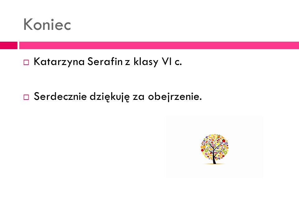 Koniec  Katarzyna Serafin z klasy VI c.  Serdecznie dziękuję za obejrzenie.