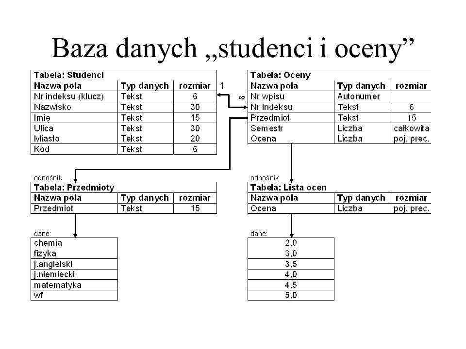 "Baza danych ""studenci i oceny"""