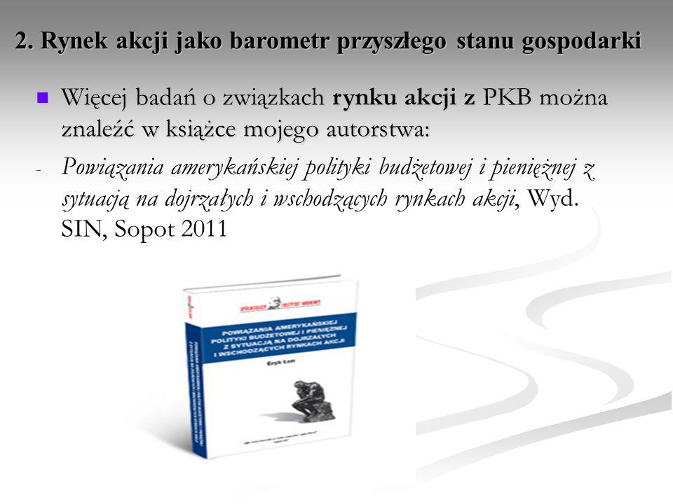 Więcej badań o związkach rynku akcji z PKB można znaleźć w książce mojego autorstwa: Więcej badań o związkach rynku akcji z PKB można znaleźć w książc