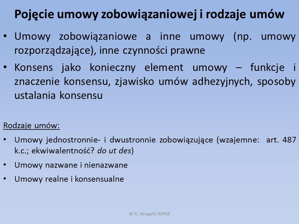 Pojęcie umowy zobowiązaniowej i rodzaje umów Umowy zobowiązaniowe a inne umowy (np.
