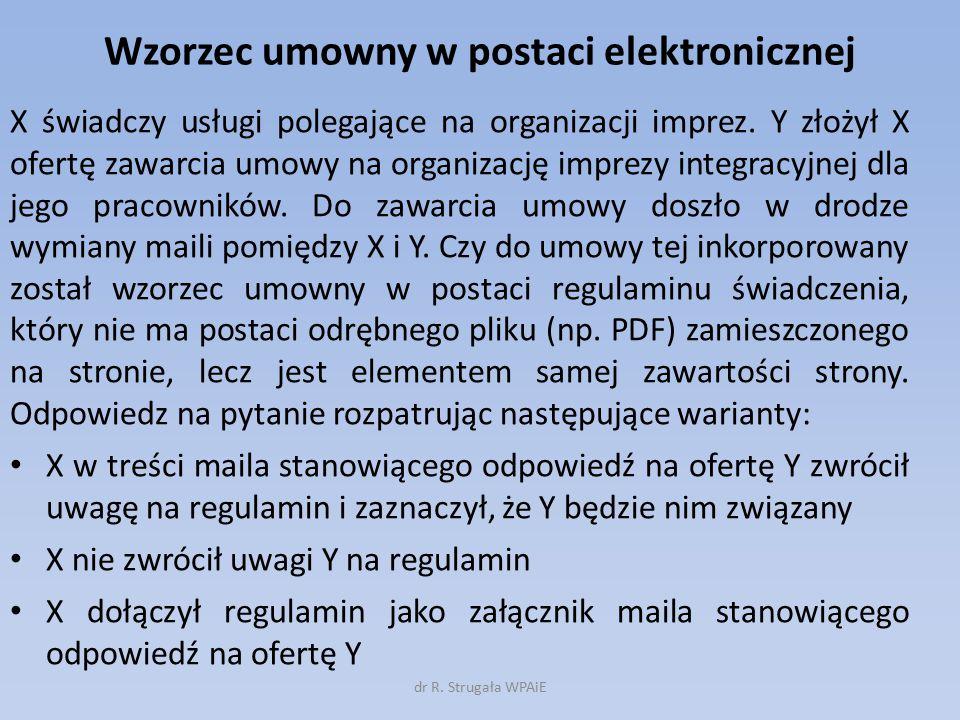 Wzorzec umowny w postaci elektronicznej X świadczy usługi polegające na organizacji imprez.