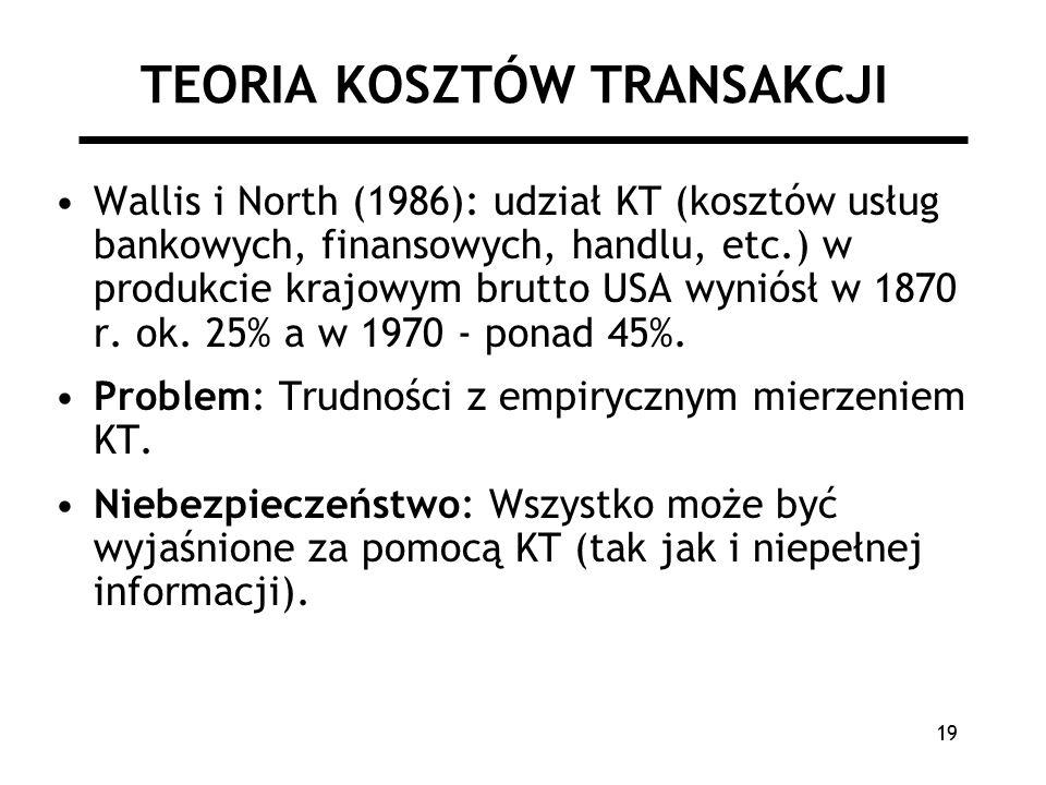 19 TEORIA KOSZTÓW TRANSAKCJI Wallis i North (1986): udział KT (kosztów usług bankowych, finansowych, handlu, etc.) w produkcie krajowym brutto USA wyniósł w 1870 r.