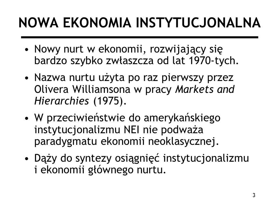 4 NOWA EKONOMIA INSTYTUCJONALNA Główne pytanie: –Jak tworzone są instytucje i jak wpływają na warunki gospodarowania.