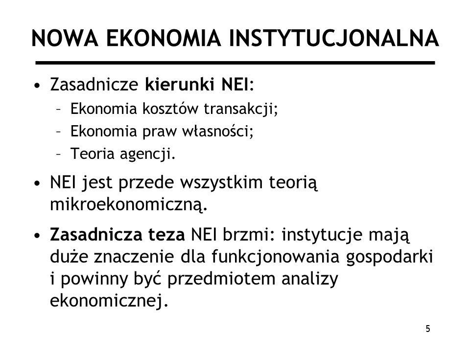 5 NOWA EKONOMIA INSTYTUCJONALNA Zasadnicze kierunki NEI: –Ekonomia kosztów transakcji; –Ekonomia praw własności; –Teoria agencji.