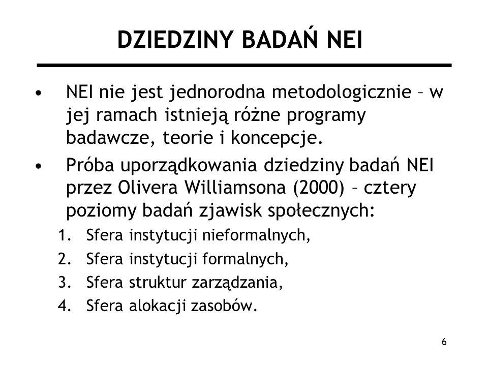 6 DZIEDZINY BADAŃ NEI NEI nie jest jednorodna metodologicznie – w jej ramach istnieją różne programy badawcze, teorie i koncepcje.