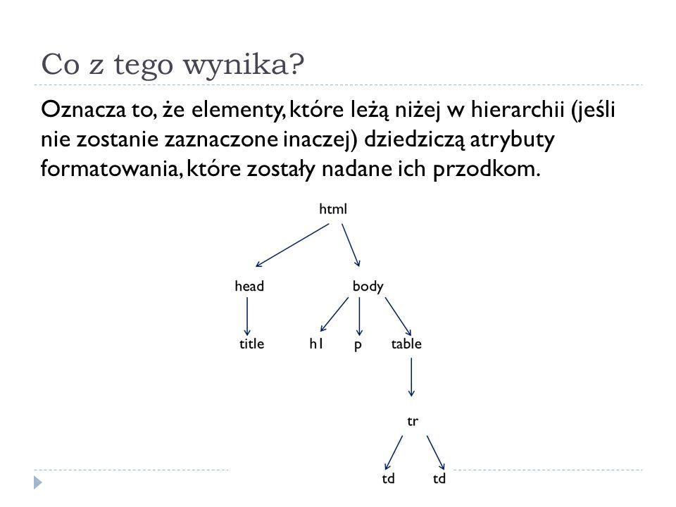 Co z tego wynika? Oznacza to, że elementy, które leżą niżej w hierarchii (jeśli nie zostanie zaznaczone inaczej) dziedziczą atrybuty formatowania, któ