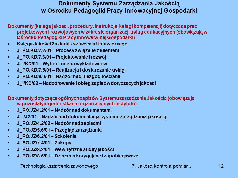 Dokumenty Systemu Zarządzania Jakością w Ośrodku Pedagogiki Pracy Innowacyjnej Gospodarki Dokumenty (księga jakości, procedury, instrukcje, księgi kom