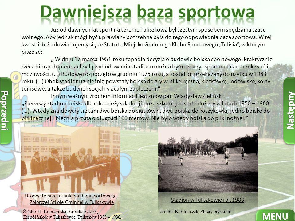 Uroczyste przekazanie stadionu sortowego Zbiorczej Szkole Gminnej w Tuliszkowie Źródło: H.