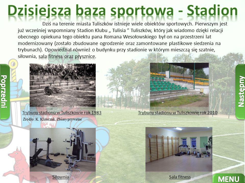 Trybuny stadionu w Tuliszkowie rok 1983Trybuny stadionu w Tuliszkowie rok 2010 Źródło: K.