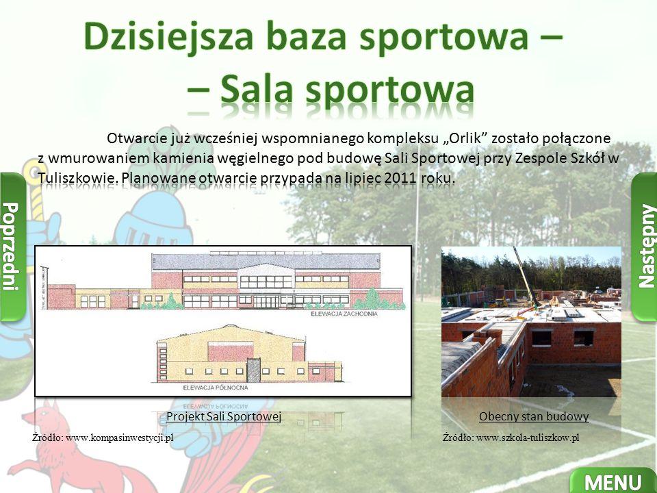 Projekt Sali Sportowej Źródło: www.kompasinwestycji.plŹródło: www.szkola-tuliszkow.pl Obecny stan budowy