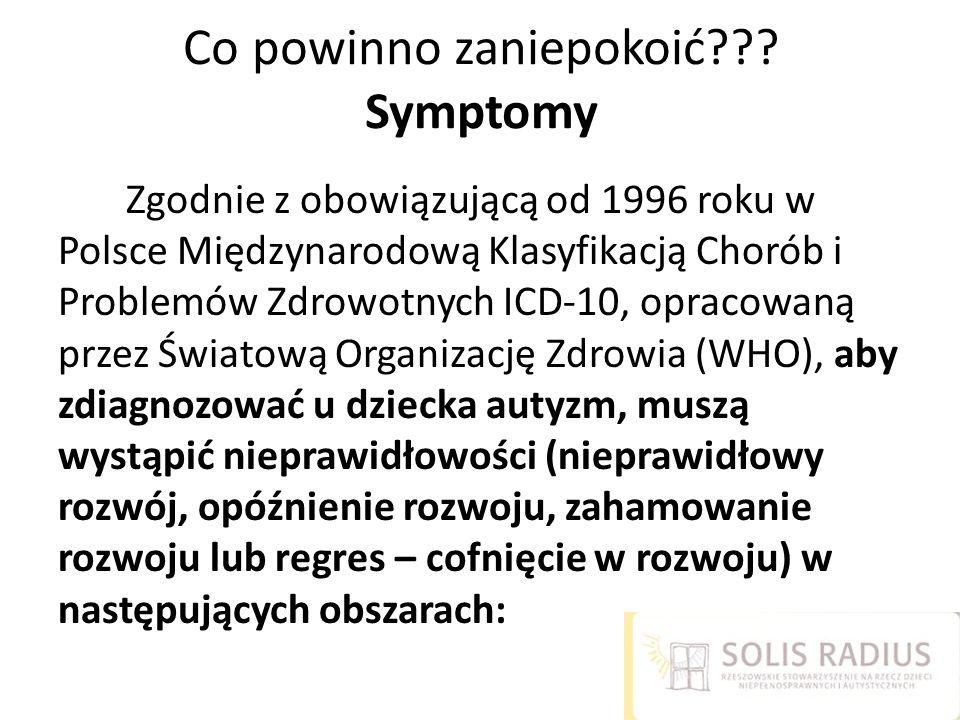Co powinno zaniepokoić??? Symptomy Zgodnie z obowiązującą od 1996 roku w Polsce Międzynarodową Klasyfikacją Chorób i Problemów Zdrowotnych ICD-10, opr