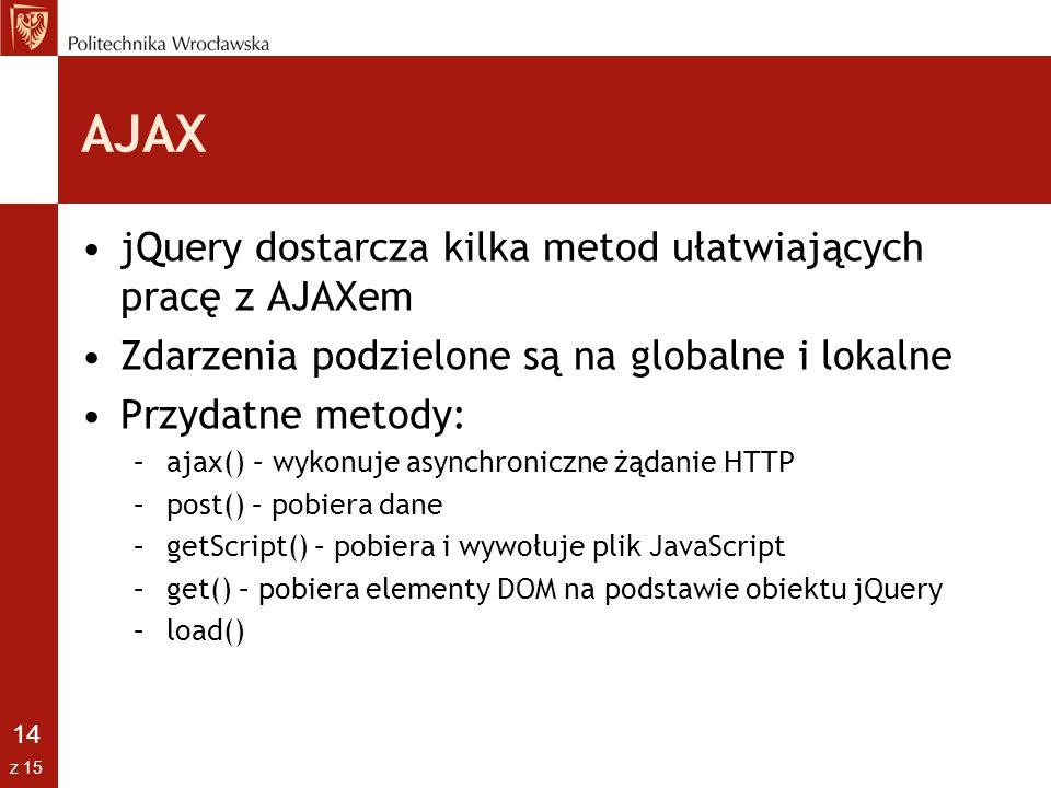 14 z 15 AJAX jQuery dostarcza kilka metod ułatwiających pracę z AJAXem Zdarzenia podzielone są na globalne i lokalne Przydatne metody: –ajax() – wykon