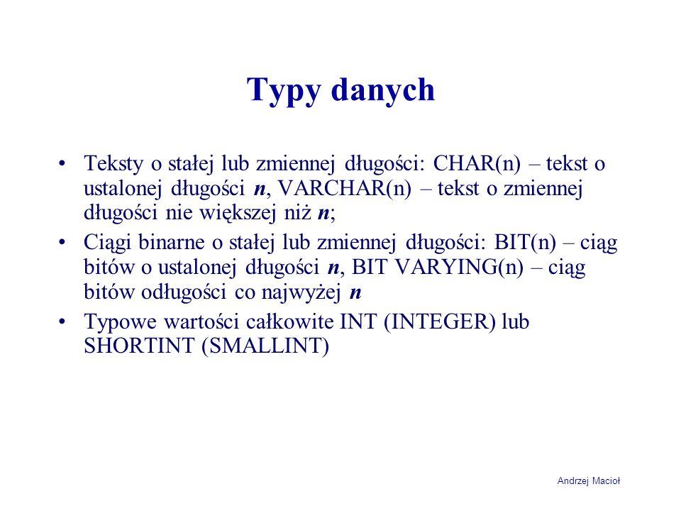 Andrzej Macioł Typy danych Teksty o stałej lub zmiennej długości: CHAR(n) – tekst o ustalonej długości n, VARCHAR(n) – tekst o zmiennej długości nie większej niż n; Ciągi binarne o stałej lub zmiennej długości: BIT(n) – ciąg bitów o ustalonej długości n, BIT VARYING(n) – ciąg bitów odługości co najwyżej n Typowe wartości całkowite INT (INTEGER) lub SHORTINT (SMALLINT)