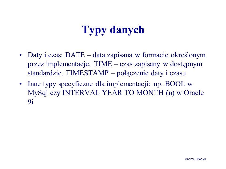 Andrzej Macioł Typy danych Daty i czas: DATE – data zapisana w formacie określonym przez implementacje, TIME – czas zapisany w dostępnym standardzie, TIMESTAMP – połączenie daty i czasu Inne typy specyficzne dla implementacji: np.