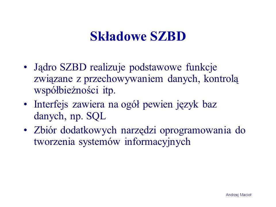 Andrzej Macioł Składowe SZBD Jądro SZBD realizuje podstawowe funkcje związane z przechowywaniem danych, kontrolą współbieżności itp.