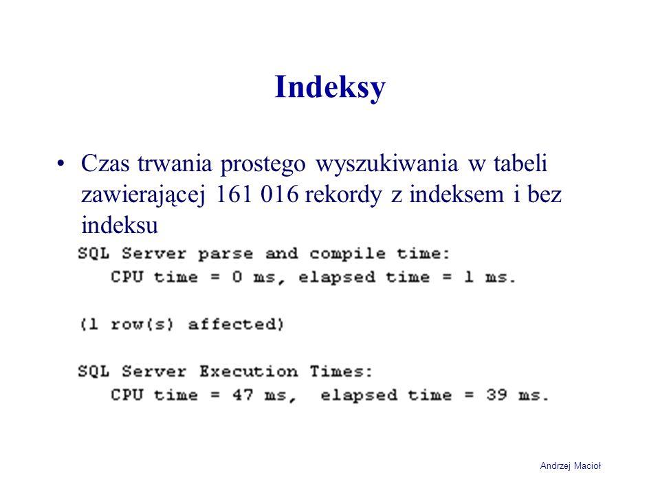 Andrzej Macioł Indeksy Czas trwania prostego wyszukiwania w tabeli zawierającej 161 016 rekordy z indeksem i bez indeksu