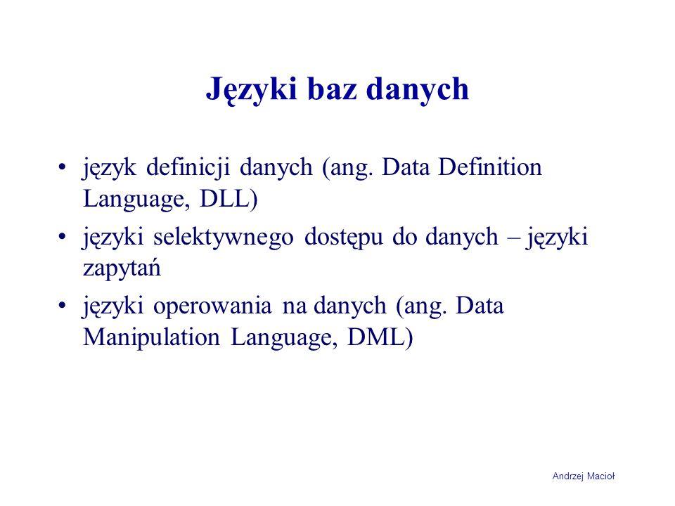Andrzej Macioł Zapytania grupujące - ograniczenia SELECT NazwaKLienta, DATE_FORMAT(DataZamowienia, %Y %m %d ) AS Data, SUM(Ilosc*Cena) AS Wartosc FROM Klient JOIN Zamowienie USING (IdKlienta) JOIN LiniaZamowienia USING (IdZamowienia) WHERE DataZamowienia > 2004-04-04 GROUP BY NazwaKlienta, DataZamowienia ORDER BY NazwaKLienta, DataZamowienia +-------------------+------------+---------+ | NazwaKLienta | Data | Wartosc | +-------------------+------------+---------+ | FH Klin SA | 2004 04 06 | 99.6 | | Firma Krok Sp zoo | 2004 04 05 | 153.2 | | Rower Polska SA | 2004 04 07 | 153.5 | | STALHANDEL | 2004 04 06 | 250 | +-------------------+------------+---------+