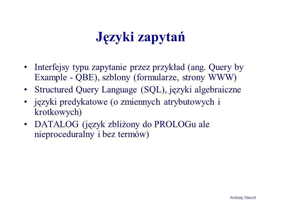Andrzej Macioł Języki zapytań Interfejsy typu zapytanie przez przykład (ang.