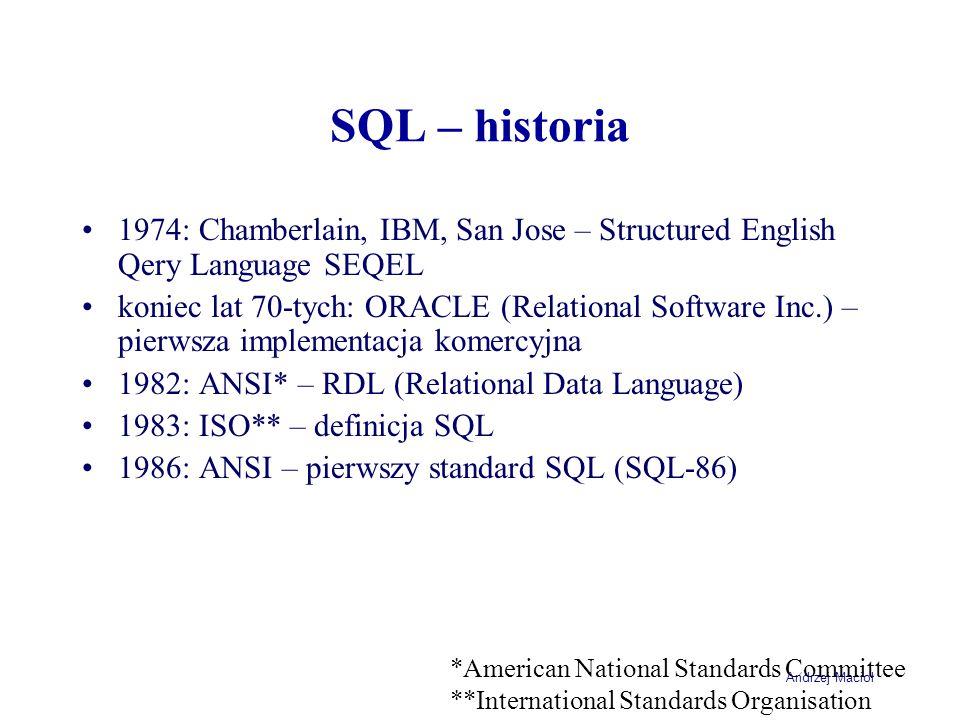Andrzej Macioł SQL – historia ciąg dalszy 1987: ISO – pierwszy standard SQL (ISO 9075) 1989: ISO – następny standard SQL (ISO 9076 – SQL-89) 1992: ISO – wzbogacona wersja ISO 9075 (SQL 2) 1999: ANSI/ISO – ostatnia wersja ISO 9075 (SQL-99 lub SQL 3) 2003: ANSI/ISO – SQL200n?