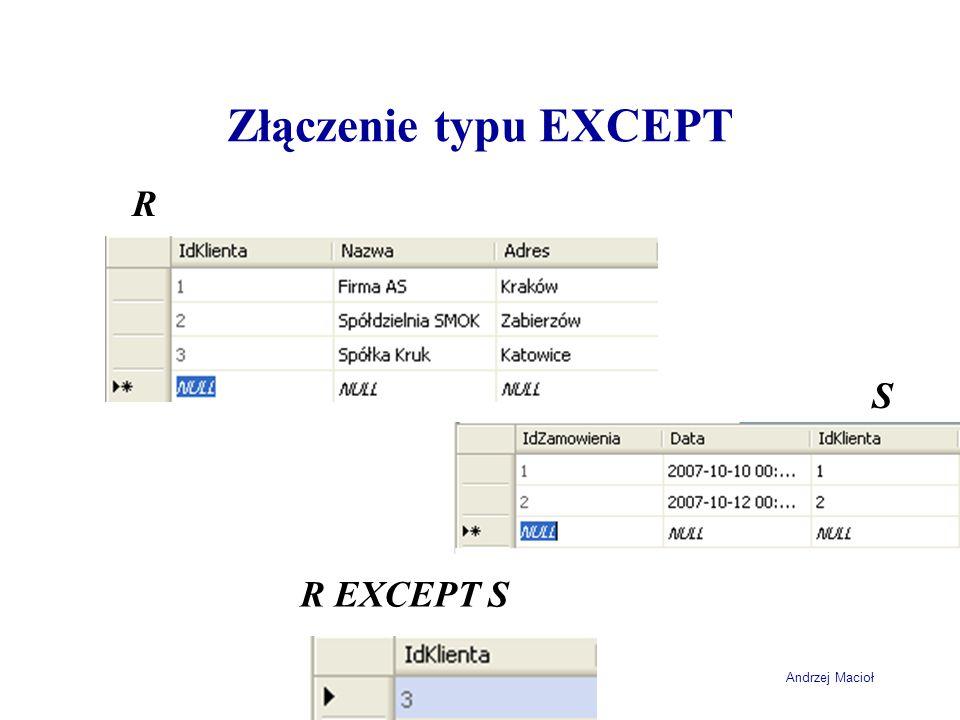 Andrzej Macioł Złączenie typu EXCEPT R S R EXCEPT S