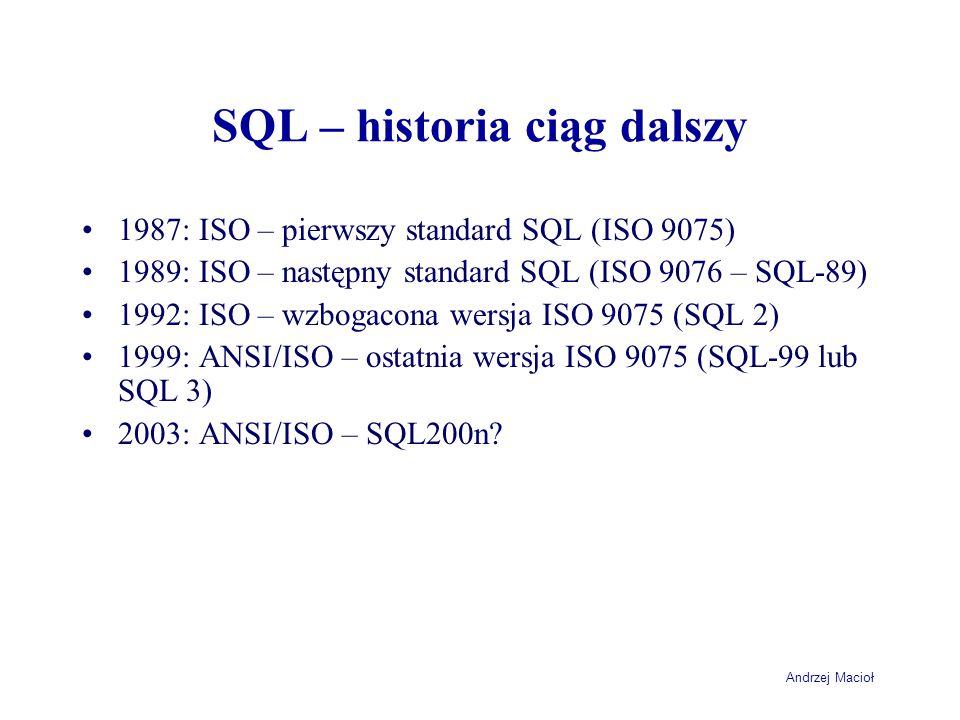 Andrzej Macioł SQL – historia ciąg dalszy 1987: ISO – pierwszy standard SQL (ISO 9075) 1989: ISO – następny standard SQL (ISO 9076 – SQL-89) 1992: ISO – wzbogacona wersja ISO 9075 (SQL 2) 1999: ANSI/ISO – ostatnia wersja ISO 9075 (SQL-99 lub SQL 3) 2003: ANSI/ISO – SQL200n