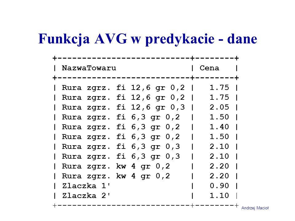 Andrzej Macioł Funkcja AVG w predykacie - dane +---------------------------+--------+ | NazwaTowaru | Cena | +---------------------------+--------+ | Rura zgrz.