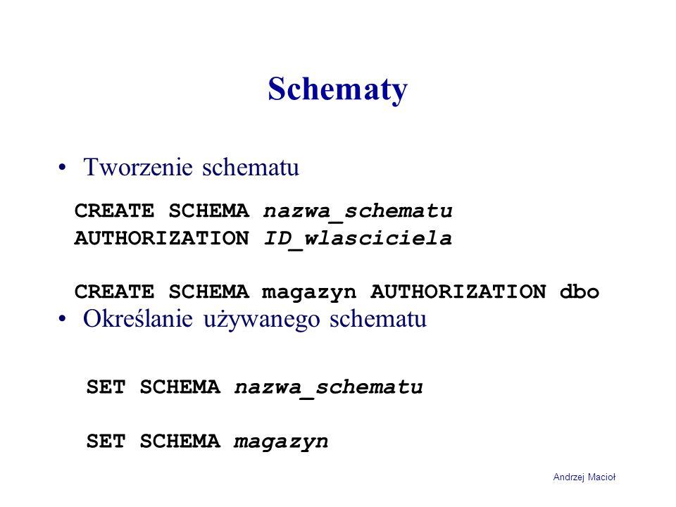 Andrzej Macioł Schematy Tworzenie schematu Określanie używanego schematu CREATE SCHEMA nazwa_schematu AUTHORIZATION ID_wlasciciela CREATE SCHEMA magazyn AUTHORIZATION dbo SET SCHEMA nazwa_schematu SET SCHEMA magazyn