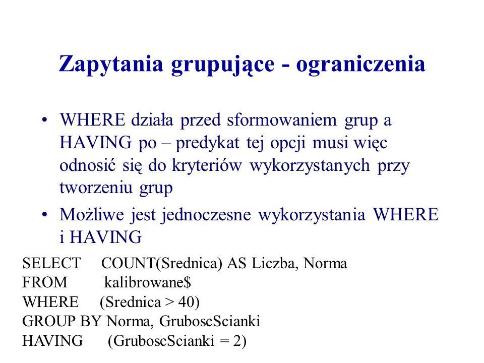 Andrzej Macioł Zapytania grupujące - ograniczenia WHERE działa przed sformowaniem grup a HAVING po – predykat tej opcji musi więc odnosić się do kryteriów wykorzystanych przy tworzeniu grup Możliwe jest jednoczesne wykorzystania WHERE i HAVING SELECT COUNT(Srednica) AS Liczba, Norma FROM kalibrowane$ WHERE (Srednica > 40) GROUP BY Norma, GruboscScianki HAVING (GruboscScianki = 2)