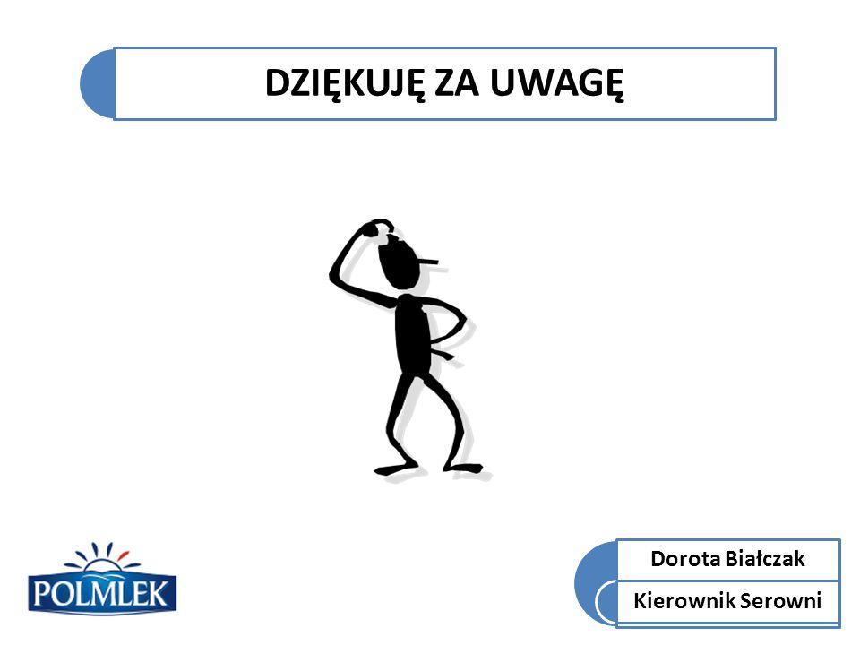 DZIĘKUJĘ ZA UWAGĘ Dorota Białczak Kierownik Serowni