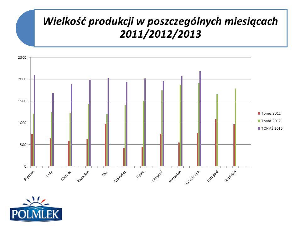 Wielkość produkcji w poszczególnych miesiącach 2011/2012/2013