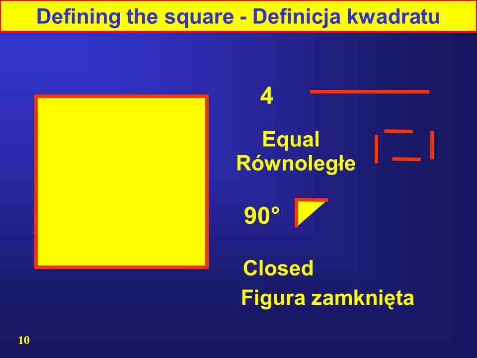 10 4 90° Equal Figura zamknięta Równoległe Closed Defining the square - Definicja kwadratu