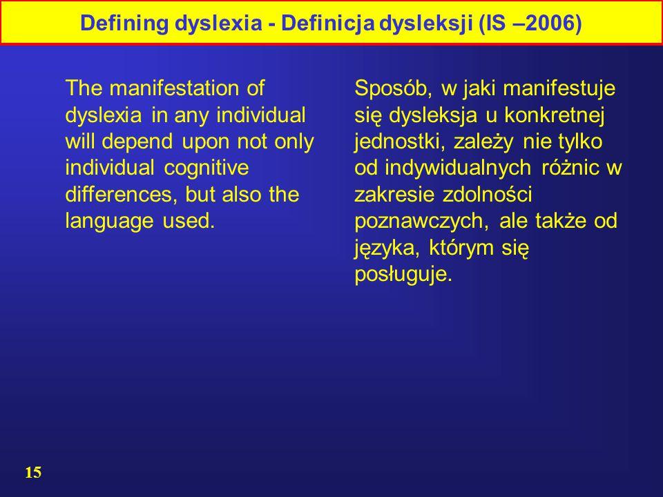 15 Sposób, w jaki manifestuje się dysleksja u konkretnej jednostki, zależy nie tylko od indywidualnych różnic w zakresie zdolności poznawczych, ale także od języka, którym się posługuje.