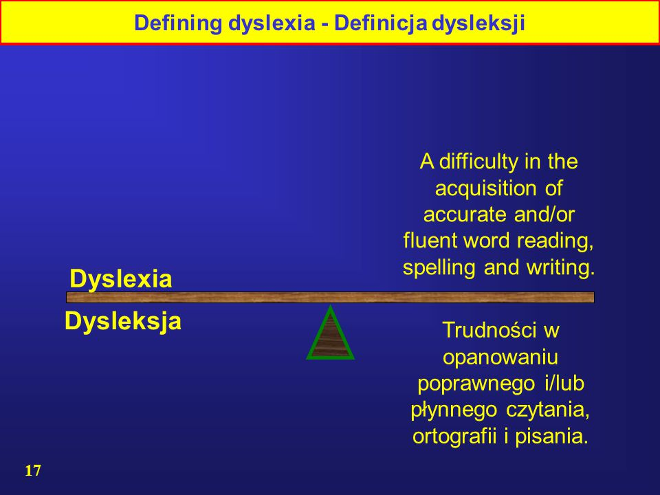 17 A difficulty in the acquisition of accurate and/or fluent word reading, spelling and writing.