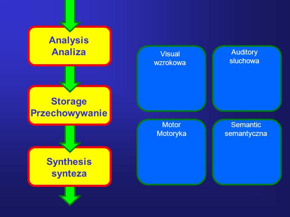20 Analysis Analiza Storage Przechowywanie Synthesis synteza Visual wzrokowa Auditory sluchowa Motor Motoryka Semantic semantyczna
