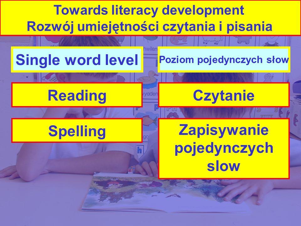 Single word level Reading Spelling Poziom pojedynczych słow Czytanie Zapisywanie pojedynczych slow Towards literacy development Rozwój umiejętności czytania i pisania Spelling
