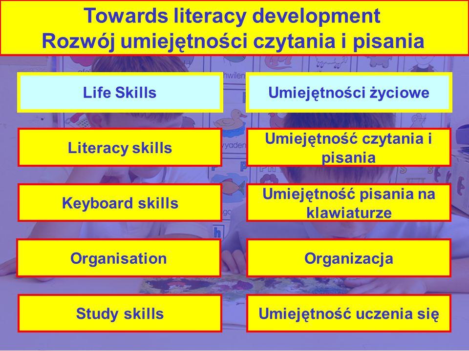 Life Skills Literacy skills Keyboard skills Organisation Study skills Umiejętności życiowe Umiejętność czytania i pisania Umiejętność pisania na klawiaturze Organizacja Umiejętność uczenia się Towards literacy development Rozwój umiejętności czytania i pisania
