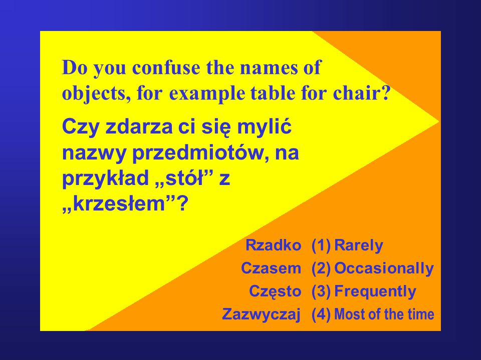 "Do you confuse the names of objects, for example table for chair? Czy zdarza ci się mylić nazwy przedmiotów, na przykład ""stół"" z ""krzesłem""? Rzadko C"