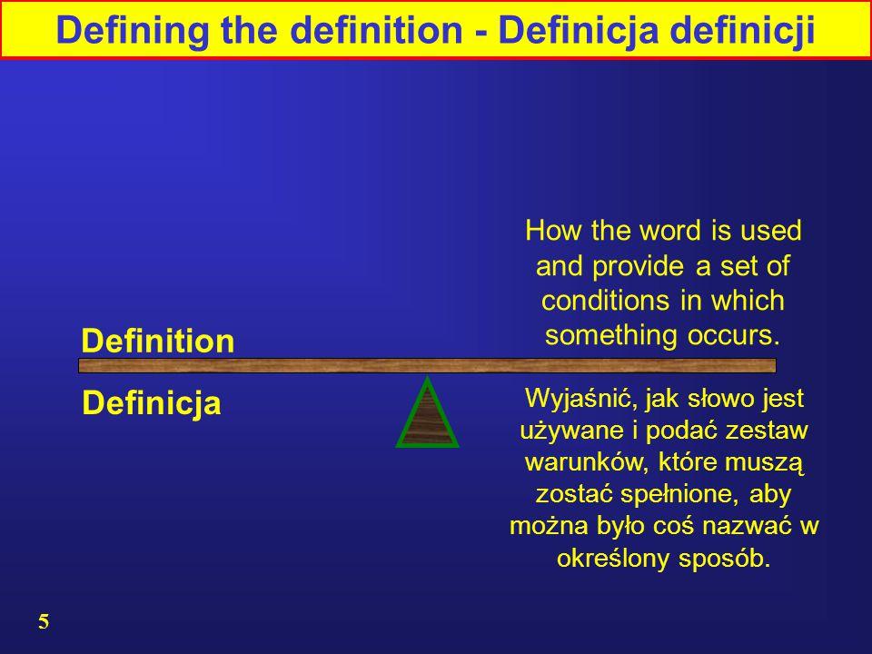 5 Definition Wyjaśnić, jak słowo jest używane i podać zestaw warunków, które muszą zostać spełnione, aby można było coś nazwać w określony sposób.