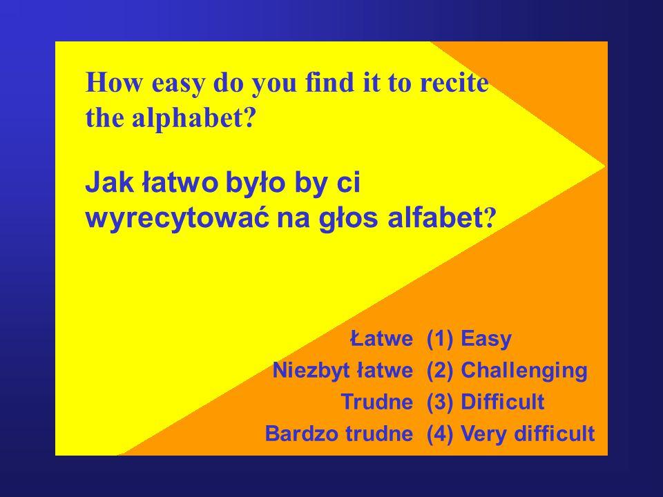 How easy do you find it to recite the alphabet.Jak łatwo było by ci wyrecytować na głos alfabet .