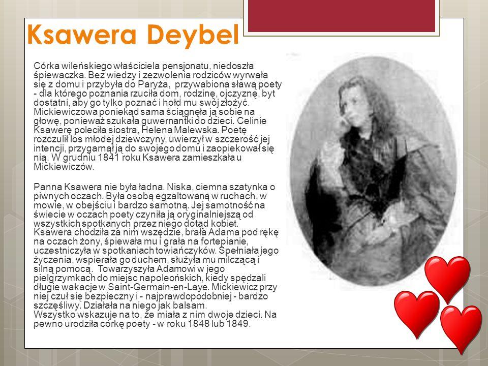 Ksawera Deybel Córka wileńskiego właściciela pensjonatu, niedoszła śpiewaczka. Bez wiedzy i zezwolenia rodziców wyrwała się z domu i przybyła do Paryż