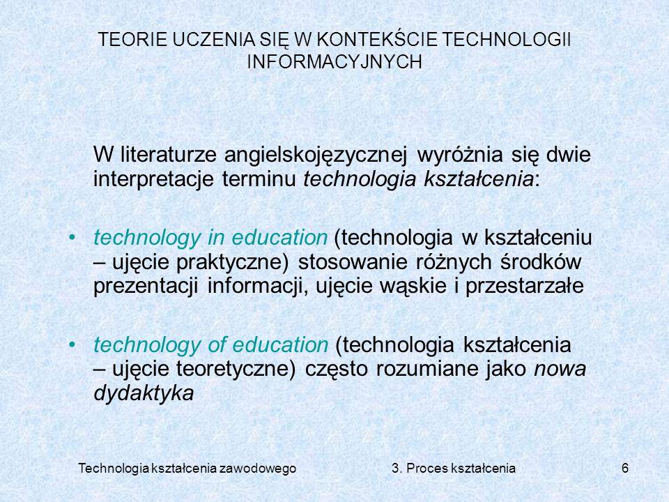 Technologia kształcenia zawodowego 3. Proces kształcenia6 TEORIE UCZENIA SIĘ W KONTEKŚCIE TECHNOLOGII INFORMACYJNYCH W literaturze angielskojęzycznej