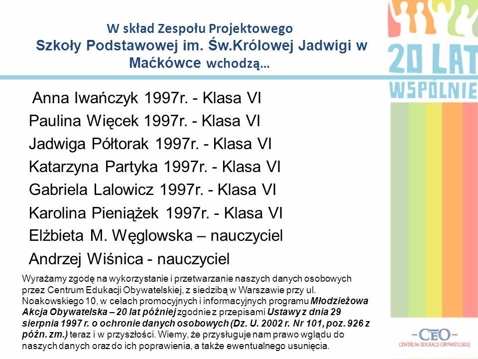 Anna Iwańczyk 1997r.- Klasa VI Paulina Więcek 1997r.