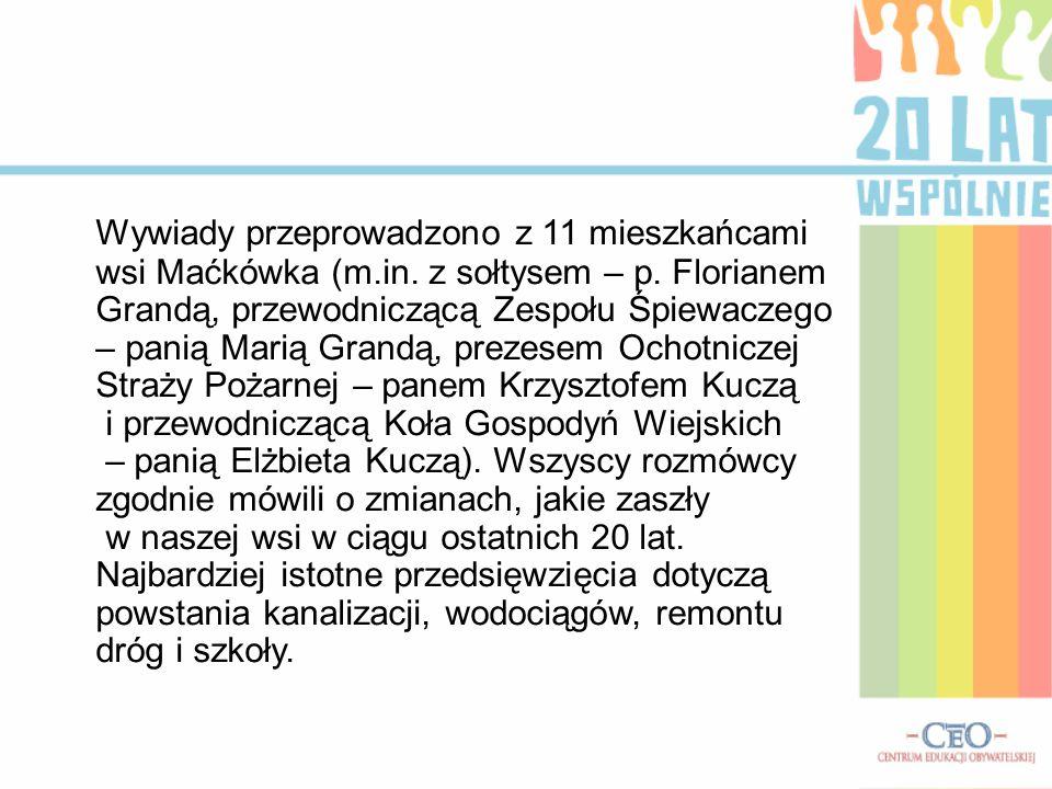 Wywiady przeprowadzono z 11 mieszkańcami wsi Maćkówka (m.in.