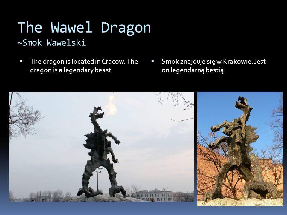 The Wawel Dragon ~Smok Wawelski  The dragon is located in Cracow.