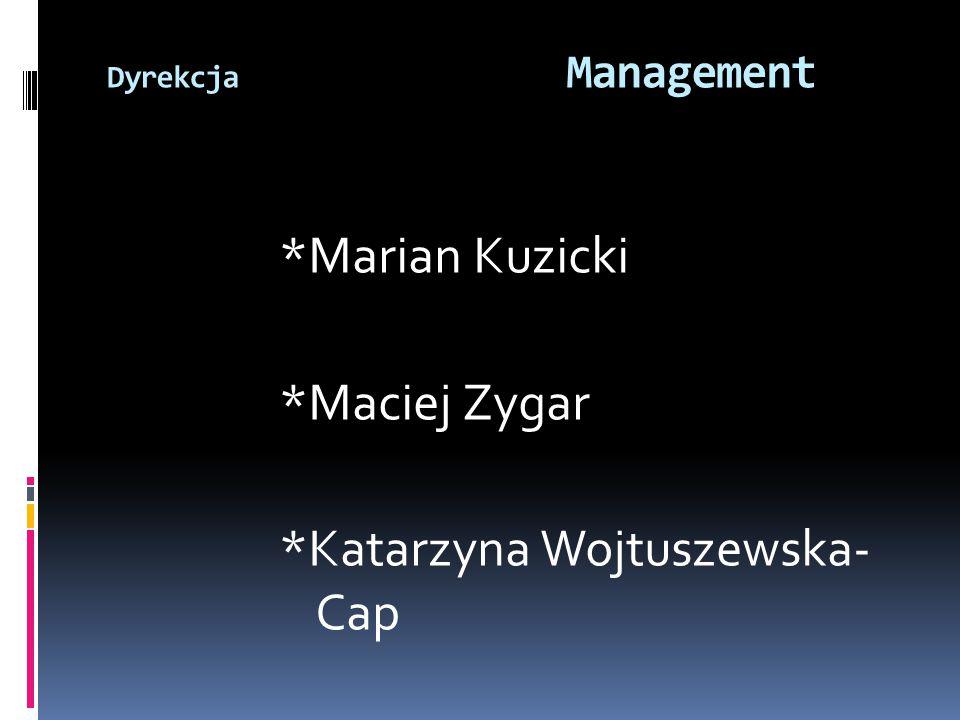 *Marian Kuzicki *Maciej Zygar *Katarzyna Wojtuszewska- Cap Dyrekcja Management