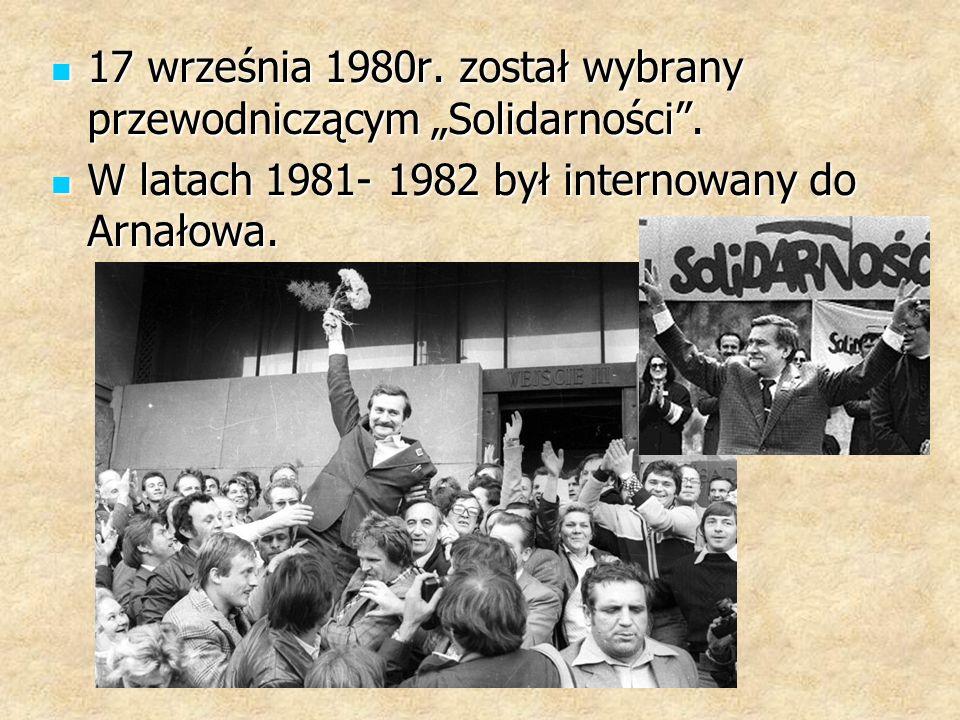 """17 września 1980r.został wybrany przewodniczącym """"Solidarności ."""