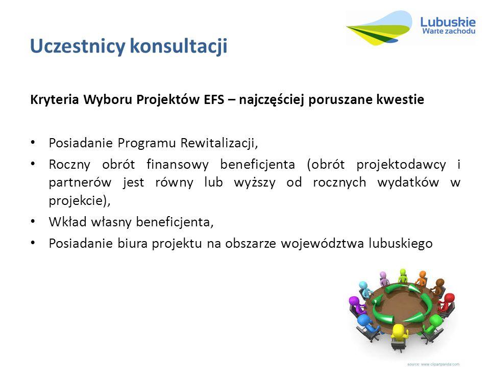 Uczestnicy konsultacji Kryteria Wyboru Projektów EFS – najczęściej poruszane kwestie Posiadanie Programu Rewitalizacji, Roczny obrót finansowy beneficjenta (obrót projektodawcy i partnerów jest równy lub wyższy od rocznych wydatków w projekcie), Wkład własny beneficjenta, Posiadanie biura projektu na obszarze województwa lubuskiego