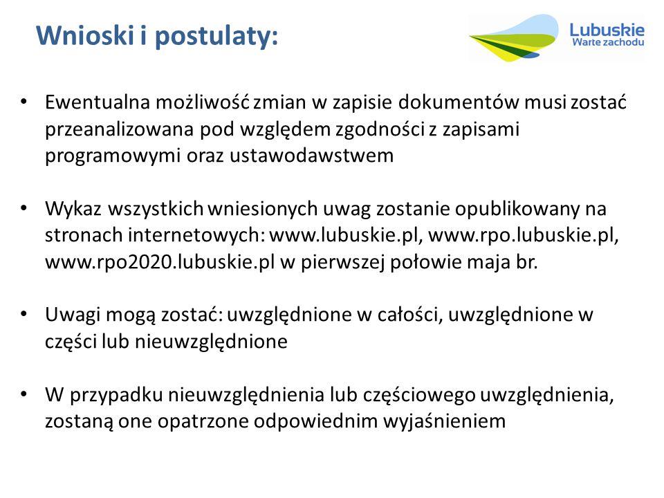 Wnioski i postulaty: Ewentualna możliwość zmian w zapisie dokumentów musi zostać przeanalizowana pod względem zgodności z zapisami programowymi oraz ustawodawstwem Wykaz wszystkich wniesionych uwag zostanie opublikowany na stronach internetowych: www.lubuskie.pl, www.rpo.lubuskie.pl, www.rpo2020.lubuskie.pl w pierwszej połowie maja br.